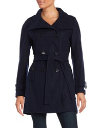 Calvin Klein Wool Blend Double Breasted Peacoat Navy