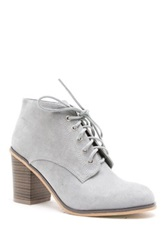 Qupid Varsity Lace Up Heeled Bootie Gray