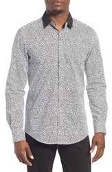 Men's Antony Morato Extra Trim Fit Convertible Collar Print Woven Shirt