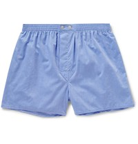 Derek Rose Amalfi Cotton Boxer Shorts Blue