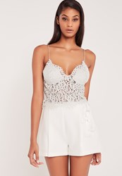 Missguided Longline Corded Lace Bralet Grey