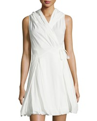 P. Luca Hooded Wrap Dress White