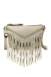 T Shirt And Jeans Feather Fringe Crossbody White