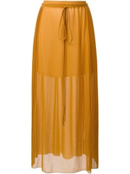 See By Chloe Plated Long Skirt Yellow And Orange