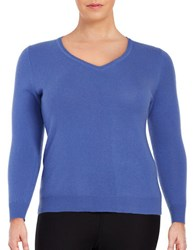 Lord And Taylor Plus Cashmere V Neck Sweater Azure Blue