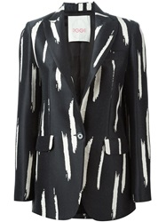 Eggs Brush Stroke Print Blazer Black