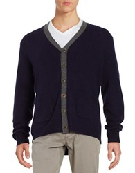 Black Brown V Neck Wool Blend Cardigan Dark Navy