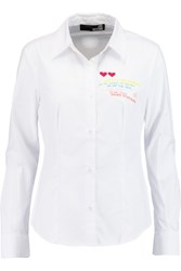 Love Moschino Embroidered Cotton Blend Shirt White