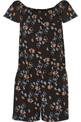 Rebecca Minkoff Lovino Off The Shoulder Floral Print Crepe Playsuit Black