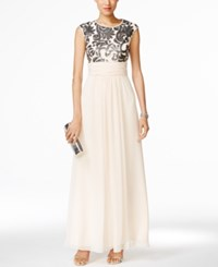 Vince Camuto Sequined Chiffon Dress Champagne