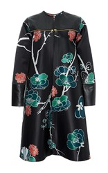 Polite Silk Satin And Leather Collarless Coat Floral