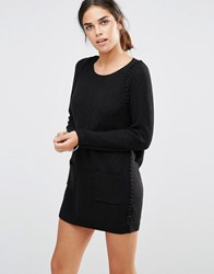 See U Soon Jumper Dress With Bobble Detail Black