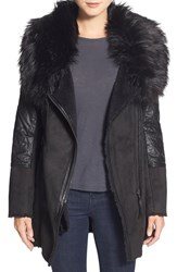 Women's Steve Madden Quilt Detail Faux Shearling Coat