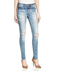 Noisy May Lucy Distressed Skinny Jeans In Medium Blue