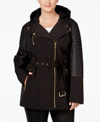 Michael Michael Kors Plus Size Hooded Faux Leather Trim Asymmetrical Jacket Black