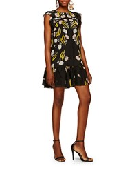 Cynthia Rowley Floral Oversized Shift Dress Black