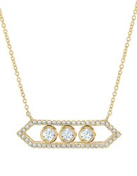 Crislu Sway Cubic Zirconia And 18K Yellow Goldplated Sterling Silver Geo Necklace