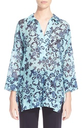 Escada Heritage Print Cotton Tunic Blue Multi