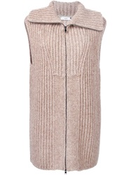 Vince Long Zip Cardigan Nude And Neutrals