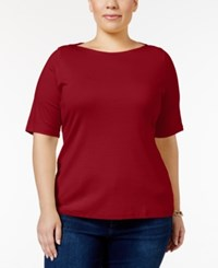 Charter Club Plus Size Boat Neck T Shirt Only At Macy's New Red Amore