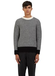 Ami Alexandre Mattiussi Oversized Bi Colour Knit Crew Neck Sweater Black