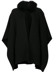Sofia Cashmere Cape Coat Black