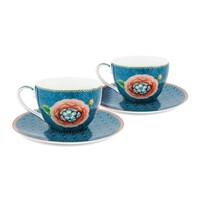 Pip Studio Spring To Life Cup And Saucers Set Of 2 Blue