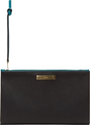 Chloe Black And Petrol Blue Lambskin A5 Clutch