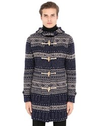 Daniele Alessandrini Grey Boiled Wool Blend Duffle Coat