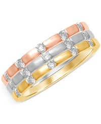 Macy's Diamond Set Of Three Tri Color Five Stone Stackable Bands 1 2 Ct. T.W. In 14K White Yellow And Rose Gold