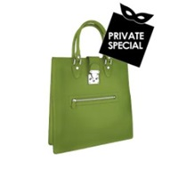 L.A.P.A. Front Zip Calf Leather Large Tote Handbag Green