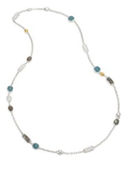 Gurhan Lentil Semi Precious Multi Stone 24K Yellow Gold And Sterling Silver Storm Long Station Necklace Silver Gold