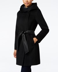 Cole Haan Faux Leather Trim Shawl Collar Asymmetrical Coat Black