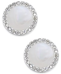 Inc International Concepts Silver Tone Imitation Mother Of Pearl Button Stud Earrings Only At Macy's