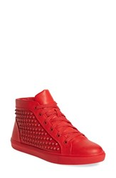 Steve Madden Women's 'Levels' High Top Sneaker Red Leather Studs