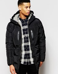 Pull And Bear Pullandbear Padded Jacket With Zip Details In Black