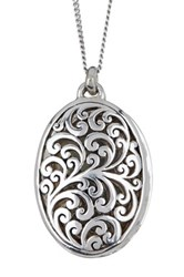 Lois Hill Sterling Silver Open Cutout Locket Pendant Necklace Metallic