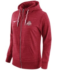 Nike Women's Ohio State Buckeyes Tailgate Gym Vintage Full Zip Hoodie Red Heather
