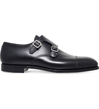 George Cleverley Thomas Double Buckle Leather Monk Shoes Black