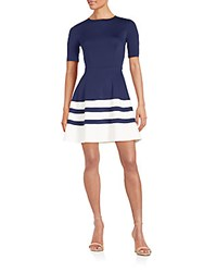 Saks Fifth Avenue Red Stripe Hem Fit And Flare Dress Navy