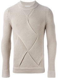 Carven Woven Panel Sweater Nude And Neutrals