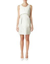 Erin Fetherston Sleeveless Overlay Dress Silver Ivory