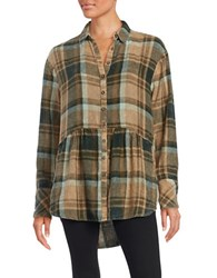 Free People Peplum Flannel Button Down Top Green