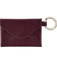 Aspinal Of London Envelope Pouch Textured Leather Keyring Burgundy