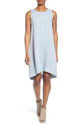 Women's Eileen Fisher High Low Linen Chambray Shift Dress