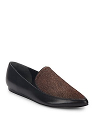 Vince Nikita Calf Hair And Leather Point Toe Loafers Black