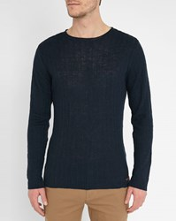 Knowledge Cotton Apparel Navy Vertical Knit Round Neck Sweater