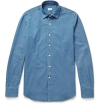 Incotex Kurt Slim Fit Cotton Chambray Shirt Blue