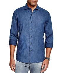 3X1 Textured Regular Fit Button Down Shirt Indigo