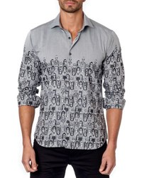 Jared Lang Graphic Print Sport Shirt Gray Pattern